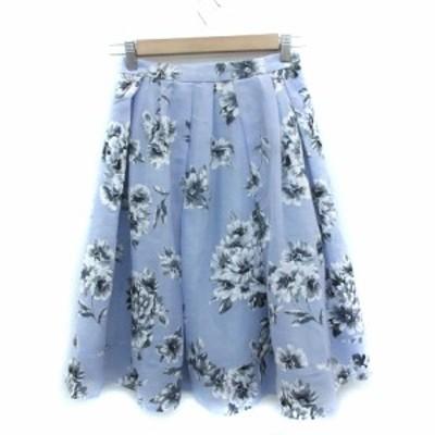 【中古】マーキュリーデュオ MERCURYDUO スカート フレア ミモレ丈 花柄 F マルチカラー 青 ブルー グレー レディース