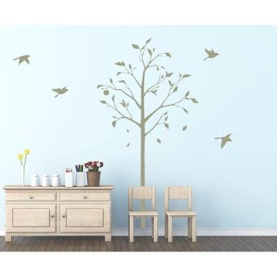 転写タイプ・大判・高級 ウォールステッカー「林檎の木と小鳥:グリーン」木 果物 鳥 日本製 東京ステッカー Sサイズ ウォールステッカー 東京百貨店