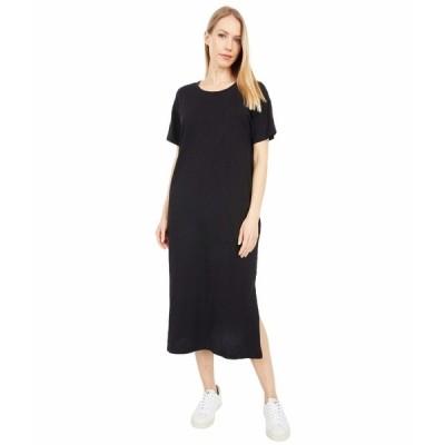 モッドドック ワンピース トップス レディース New Slub Jersey Short Sleeve Midi T-Shirt Dress Black