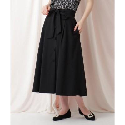 Couture Brooch / クチュールブローチ 【WEB限定サイズ(LL)あり/洗える】フロントボタンリネンライクフレアスカート