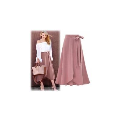 スカート レディース ボトムス ロングスカート ハイウエストスカート 女性 大人 無地 リボン ミモレ丈 不規則な裾 エレガンス おしゃれ