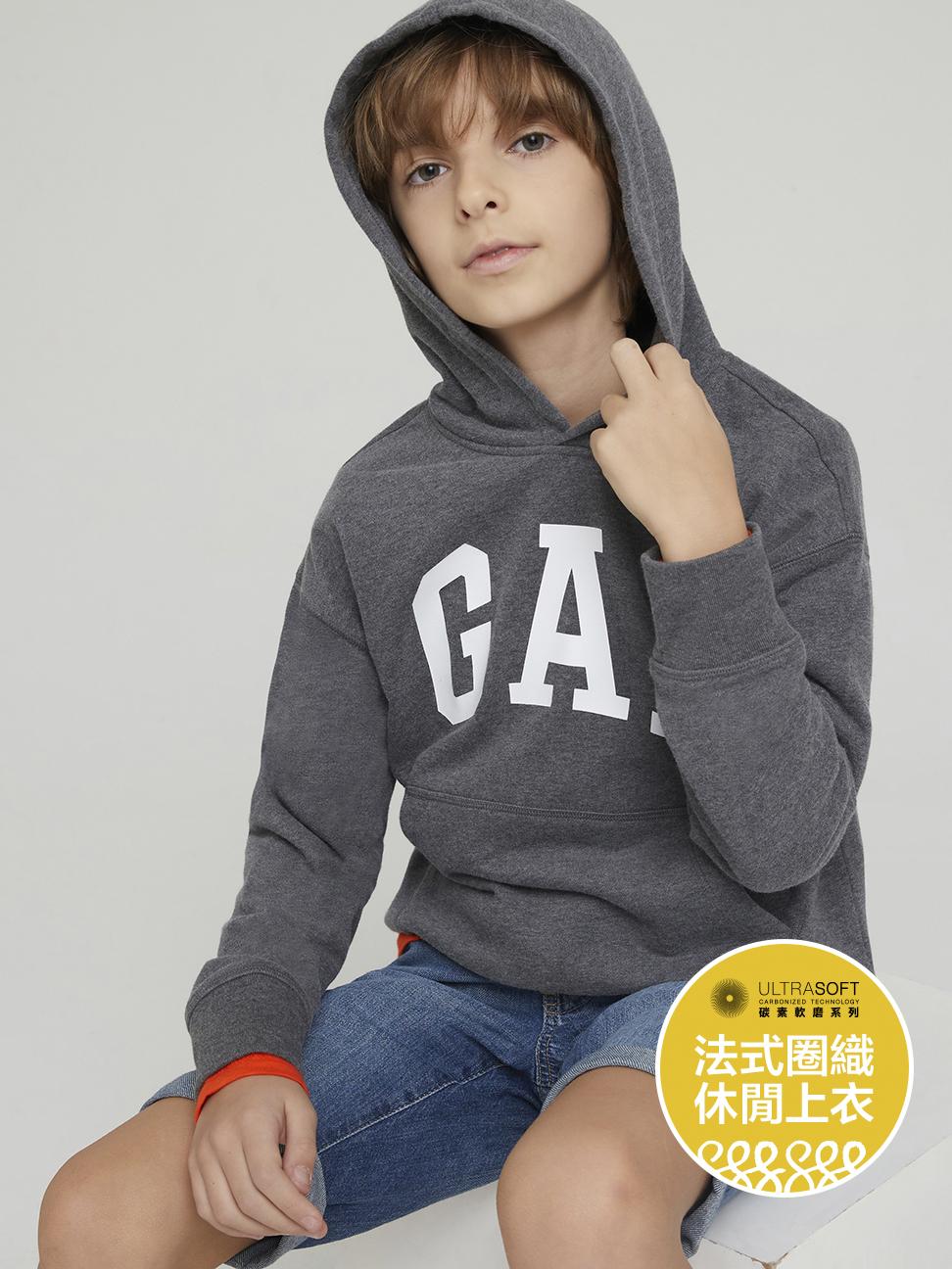 男童 碳素軟磨系列法式圈織 Logo連帽休閒上衣