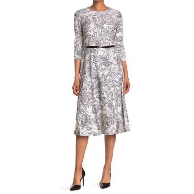 カルバンクライン レディース ワンピース トップス Paisley Crepe Belted  Dress CREAM/BLK