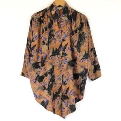 柄シャツ シルク ジャガード生地 お花 総柄 ドルマンスリーブ 長袖 ショート丈 オレンジ レディースS n011854