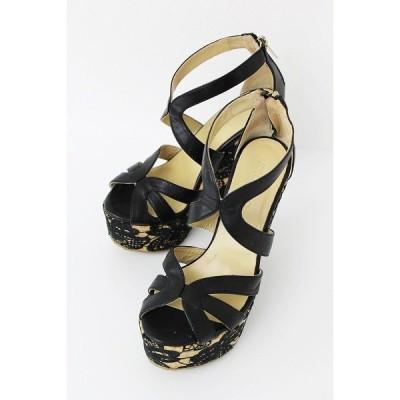 JIMMY CHOO ジミーチュウ フラワー レース 刺繍 ウェッジ サンダル 36 ナチュラル ブラック シューズ くつ 靴 花柄 2400010835384 nsg