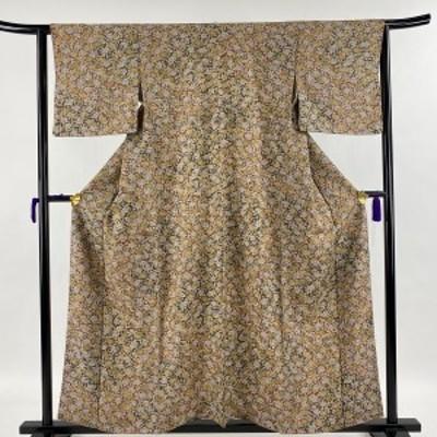小紋 美品 優品 牡丹尽くし 茶色 袷 身丈157.5cm 裄丈62.5cm S 正絹 中古