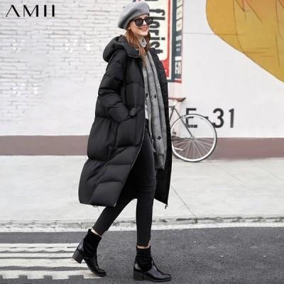 海外輸入アパレル AMIIミニマリズム女性冬厚フード付きホワイトダックダウンコートファッション因果90%ホワイトダックダウン女性ジャケット119202