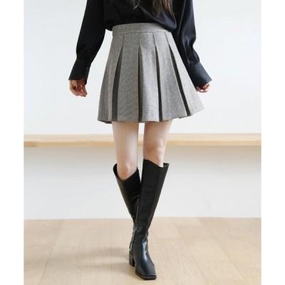 スカート ヘリンボーン柄プリーツミニスカート