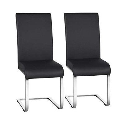 Yaheetech Office Chairs Modern Desk Chairs PU Leather Upholstered Side Chairs Home Office Furniture Metal Set of 2, Black[平行輸入品
