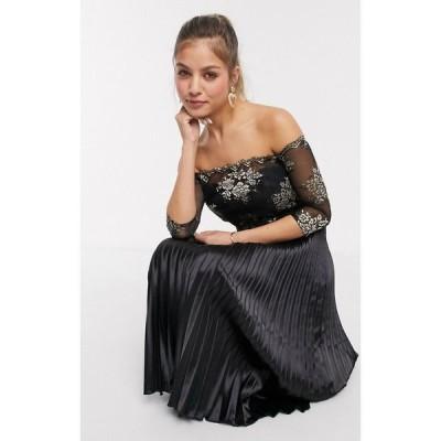 チチロンドン Chi Chi London レディース ワンピース ミドル丈 ワンピース・ドレス Chi Chi Aivana satin midi dress with gold embroidery in black ブラック