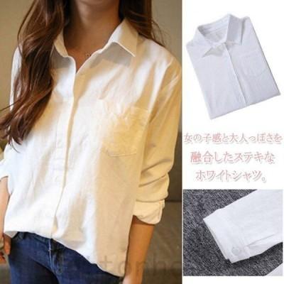レディースホワイトシャツ綿麻シャツワイシャツ大きいサイズビッグシルエットナチュラルシャツ森ガール系2017春新作Yシャツ