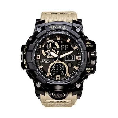 海外取寄品--ミリタリー メンズ スポーツ アナログ クォーツ 腕時計 デュアルディスプレイ アラーム デジタルウォッチ LEDバックライト付き カー