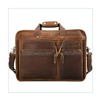 ZHBWJSH Business Briefcase First Layer Leather Men's Bag Leather 17 inch Laptop Bag (Color : Brown)並行輸入品