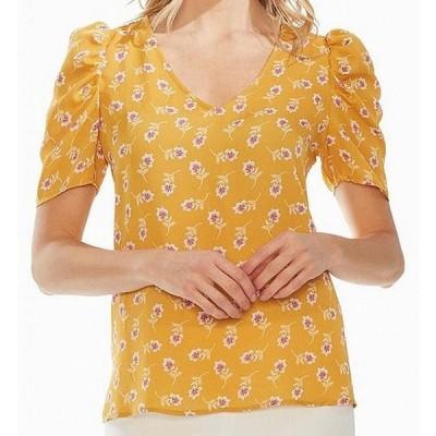 レディース 衣類 トップス Women's Blouse Yellow Pink Floral Puff Shoulder ブラウス&シャツ
