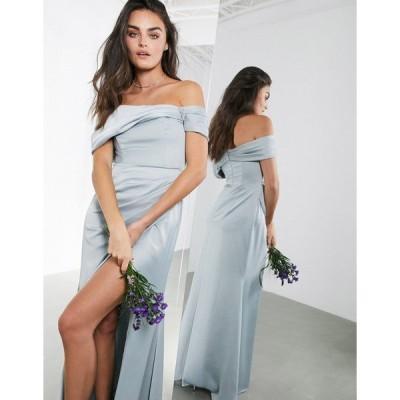 エイソス レディース ワンピース トップス ASOS EDITION satin bardot drape wrap maxi dress in ice blue Ice blue