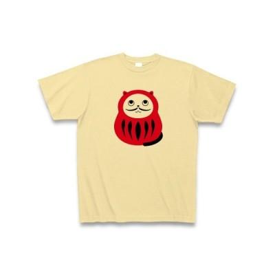 猫ダルマ(ひげ細) Tシャツ(ナチュラル)