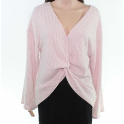 bell ベル ファッション トップス Lush Womens Sweater Pink Size Large L Rib Bell Sleeve V-Neck