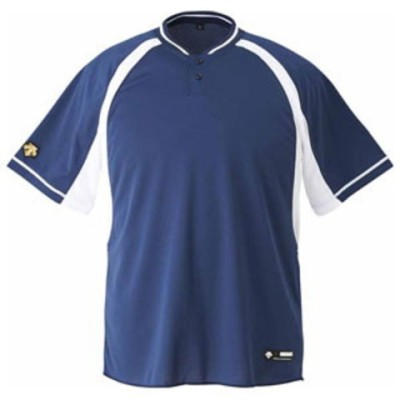 デサント ベースボールシャツ(NVSW・サイズ:L) DESCENTE 2ボタンベースボールシャツ(レギュラーシルエット) DS-DB103B-NVSW-L 【返品種別A】