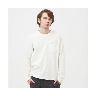 AIGLE/エーグル 吸水速乾 ミニワッフル 長袖ポケTシャツ ホワイト S