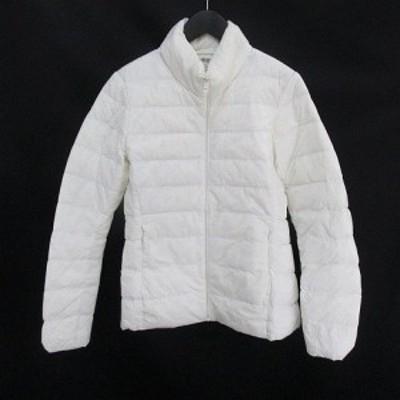 【中古】ユニクロ UNIQLO ダウンジャケット 中綿 S 白系 ホワイト ジップアップ ポケット 裏地 無地 レディース