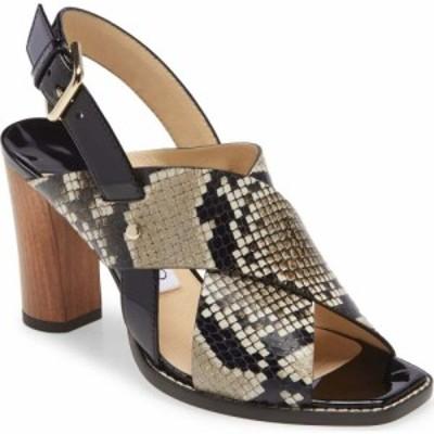 ジミー チュウ JIMMY CHOO レディース サンダル・ミュール シューズ・靴 Aix Snake Embossed Sandal Natural/Black