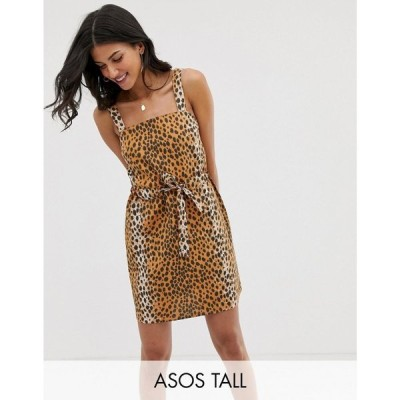 エイソス ASOS Tall レディース ワンピース ASOS DESIGN Tall Exclusive mini square neck sundress with ruched drawstring waist in leopard print