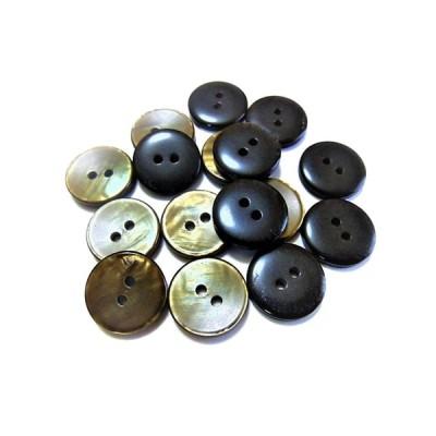 ボタン 手芸 素材 15mm ブラウン色系 2穴 ポリエステル系 ボタン 14個入り