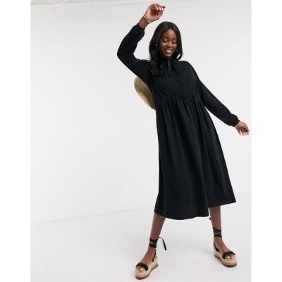 エイソス ミディドレス レディース ASOS DESIGN midi shirt smock dress with tiering and puff sleeve in black エイソス ASOS ブラック 黒