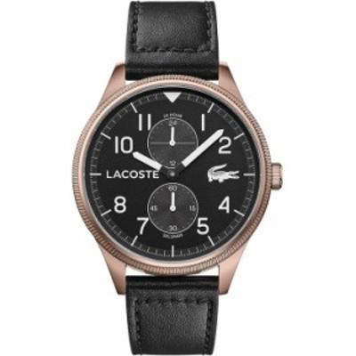 ラコステ メンズ 腕時計 アクセサリー Men's Chronograph Continental Black Leather Strap Watch 44mm Black