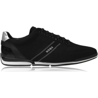 ヒューゴ ボス BOSS メンズ スニーカー シューズ・靴 Saturn Knit Low Trainers Black