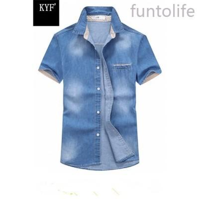 ワイシャツ半袖デニムワイシャツメンズワイシャツボタンダウントップスシンプル春夏激安価格