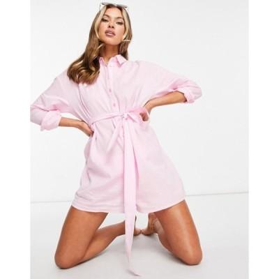 エイソス レディース ワンピース トップス ASOS DESIGN belted beach shirt romper in light pink