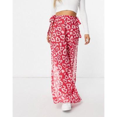 キャンディーパンツ Candypants レディース ボトムス・パンツ Leopard Print Side Split Chiffon Trousers In Pink