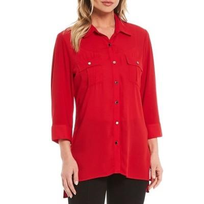 インベストメンツ レディース シャツ トップス Slim Factor by Investments Bridget 3/4 Sleeve Button Front Hi-Low Top Rich Red