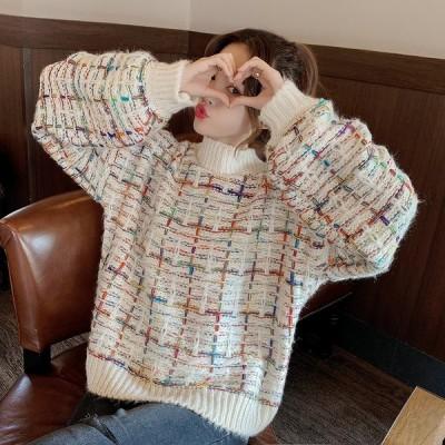 セーター ニット ツイード カラフル 長袖 レディース キラキラ ラメ トップス 女性 ハイネック 【 送料無料 】