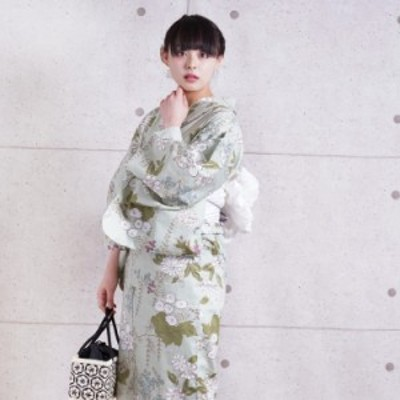 浴衣 セット レディース 浴衣 3点セット(浴衣/帯/下駄)日本製生地 国内染色 和歌山染工 ミントグリーン 水色 白 ラベンダー 小