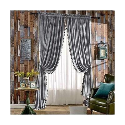 Melodieux 豪華なポンポン付きベルベットカーテン 寝室 リビングルーム 断熱性 ロッドポケット ドレープ 52x84インチ グレー(1ペア)