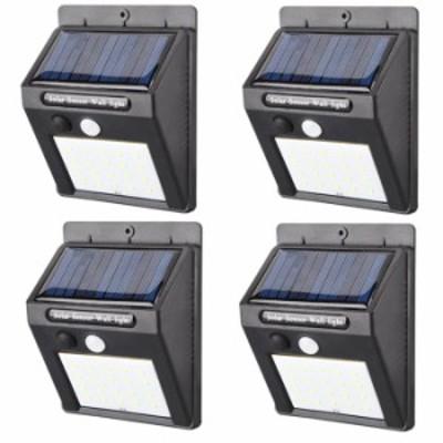新型 LED センサーライト 4個セット 屋外 人感 明暗 ソーラーライト 常夜灯 20灯 配線 電池 不要 自動点灯 防水 防犯 省エネ 庭 玄関 塀