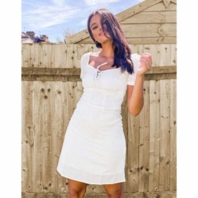 ピンキー Pimkie レディース ワンピース ワンピース・ドレス Puff Sleeve Summer Dress In White ホワイト