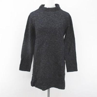 【中古】コムサ COMME CA 長袖 ニット セーター チュニック 13 黒系 ブラック ミックス 日本製 スリット 綿 コットン
