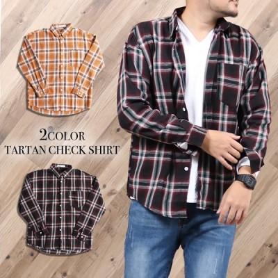 チェックシャツ メンズ トップス タータンチェック シャツ ボタンシャツ 長袖 カジュアル アメカジ  メール便送料無料