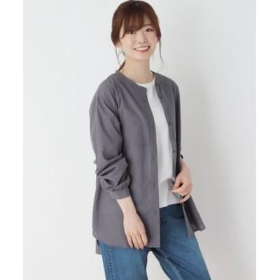 【M-3L】ビブ切り替えバンドカラーシャツ