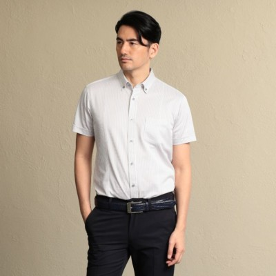 ストライプジャージー ボタンダウンシャツ