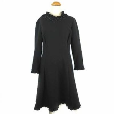 【中古】ケイトスペード KATE SPADE Embellished Crepe A-Line Dress ワンピース ひざ丈 フラワーモチーフ 黒 4