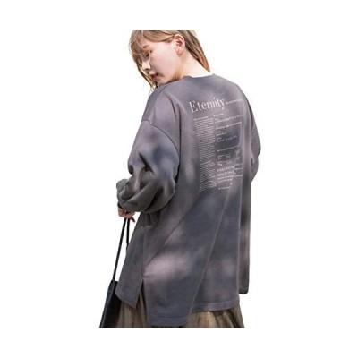 [アドティエ]プリント入り裏毛ビッグプルオーバー ロゴ スリット チュニック オーバーサイズF10504002(チャコール Free Size)