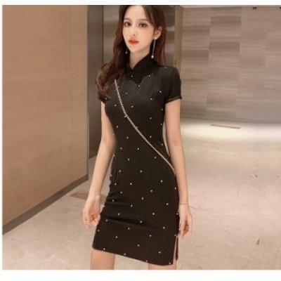 ワンピースドレス アオザイ ベトナム 民族風 ロングドレス サイドスリット 半袖 ワンピース 二次会 花嫁 お呼ばれ 大きいサイズ S M L 3L
