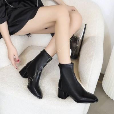 スクエアトゥ ショートブーツ ホワイト ブラック 痛くない 歩きやすい 大きいサイズ 疲れない 滑りにくい 防寒 履きやすい 太ヒール レディース ブーツ