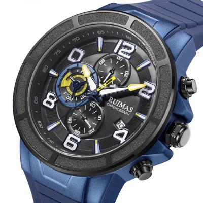 [ブラック]RUIMAS 587防水シリコンストラップメンズ腕時計発光ディスプレイ多機能スポーツクォーツ時計