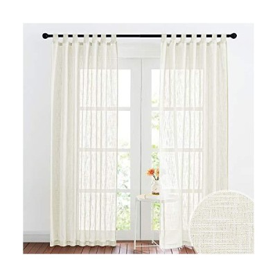 RYB HOME Sheer Curtains for Living Room Linen Textured Semi Sheer Window Drapes Light Glare Filtering Privacy Drapes for Doorway Bedroom, 52