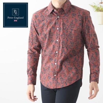 ピーターイングランド 英国老舗ブランド メンズシャツ 日本縫製 ペイズリー レッド コットン 長袖 UKデザイン 紳士 ビジネス カジュアル モッズ フォーマル